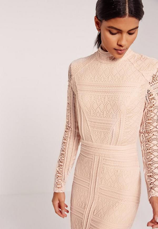 Lace Long Sleeve High Neck Midi Dress Nude | Missguided