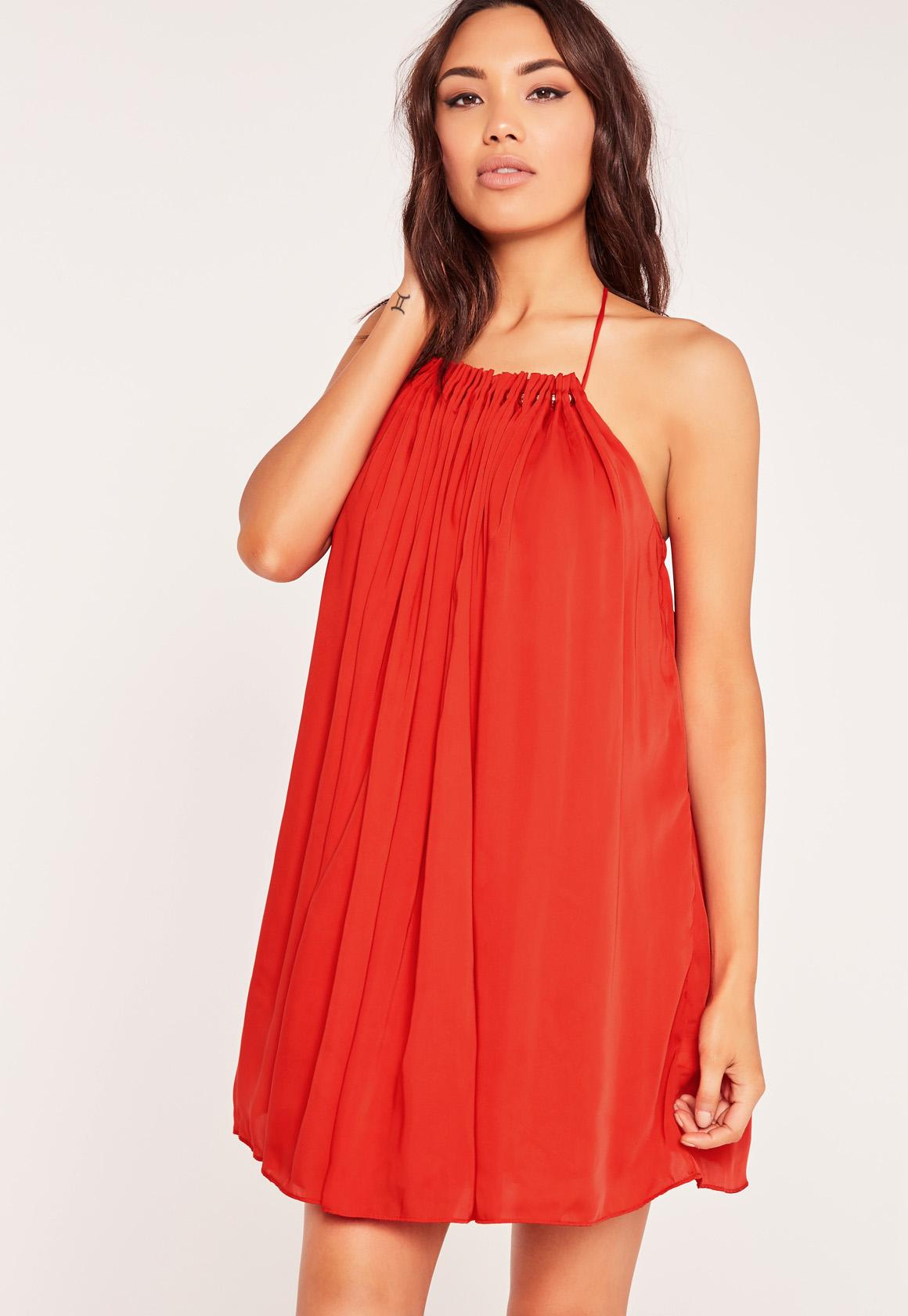 Pleated Halterneck Swing Dress Red