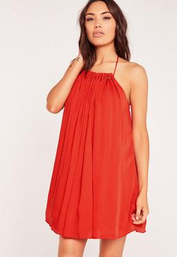 Pleated Halterneck Swing Dress Red