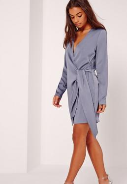 Silky Wrap Tie Waist Shirt Dress Blue