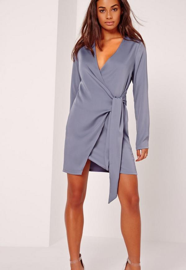 Silky wrap tie waist shirt dress blue missguided for Wrap style t shirts