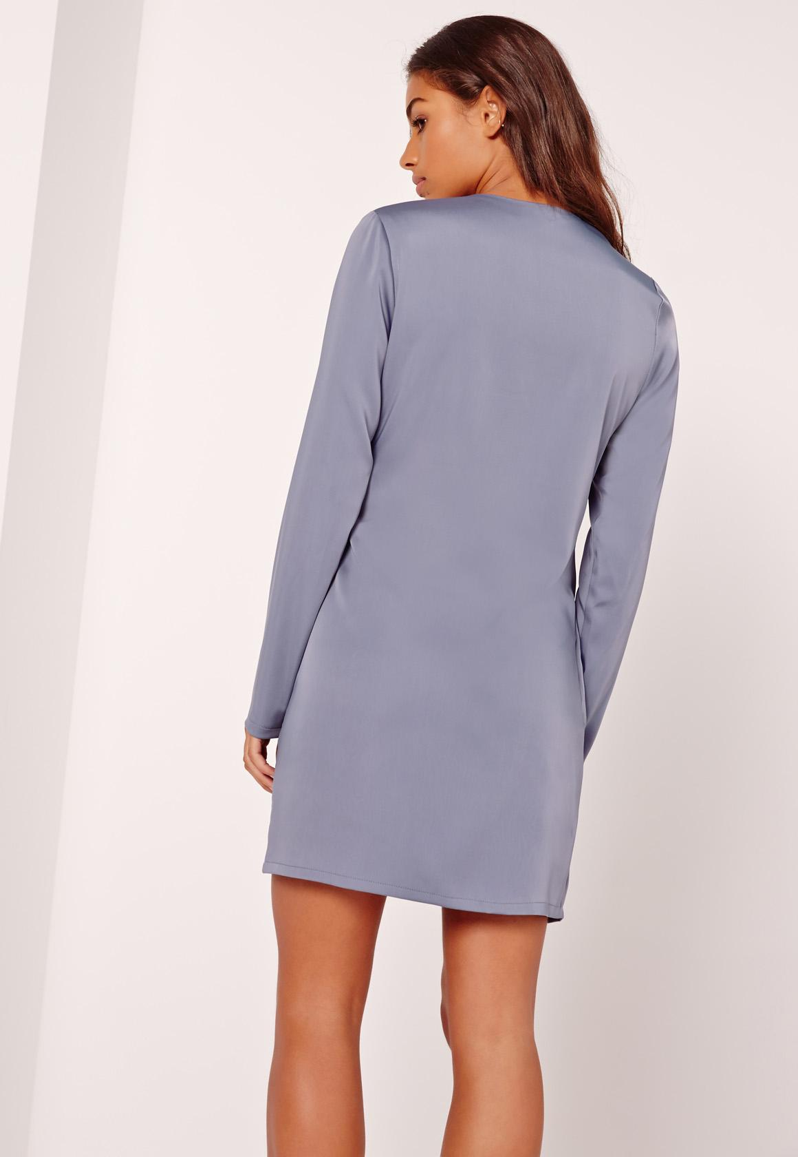 Silky Wrap Tie Waist Shirt Dress Blue