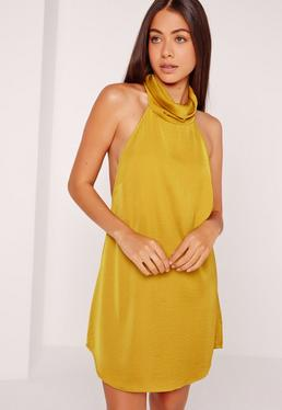 Silky High Neck Swing Dress Chartreuse