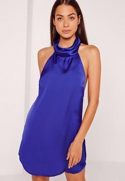 Silky High Neck Swing Dress Cobalt Blue