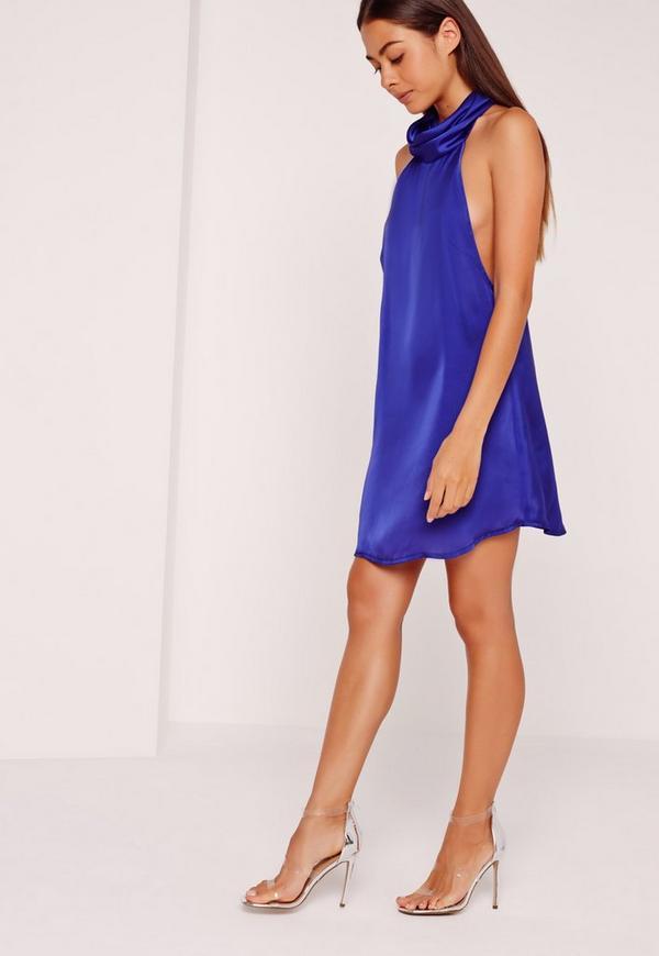 Seidiges hochgeschlossenes Swing-Kleid in Kobaltblau   Missguided
