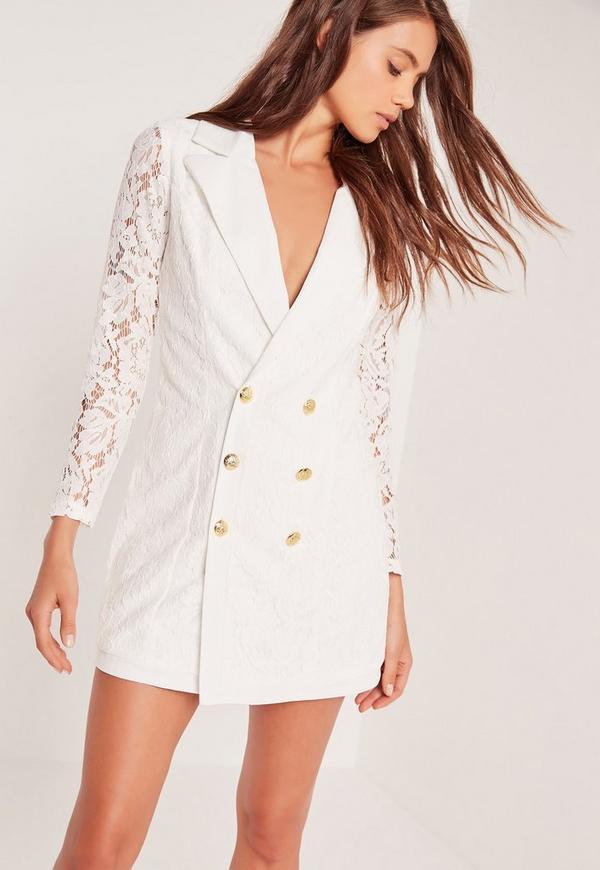 Lace Blazer Dress White