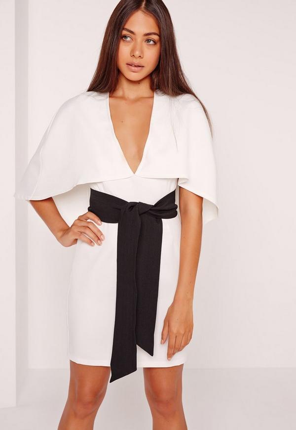 Cape Kimono Belt Bodycon Dress White