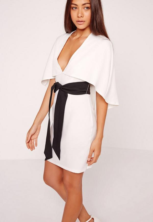 Cape Kimono Belt Bodycon Dress White | Missguided