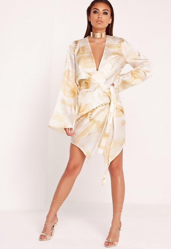 Dollar Print Kimono Wrap Dress Gold Missguided