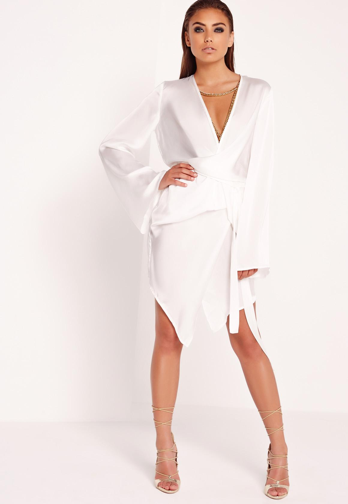 Peace   Love Kimono Wrap Dress White - Missguided