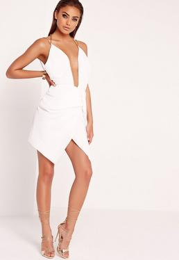 Pleated Chain Strap Wrap Dress White