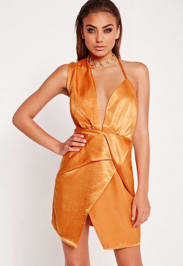 Silky Wrap Dress Orange