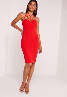 Harness Detail Midi Dress Red