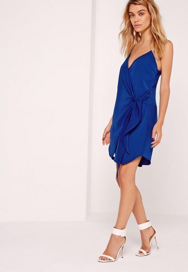 Strappy Wrap Tie Waist Shift Dress Cobalt Blue