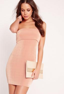 Slinky Bandeau Bodycon Dress Pink