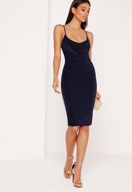 Navy Slinky Strappy Wrap Midi Dress