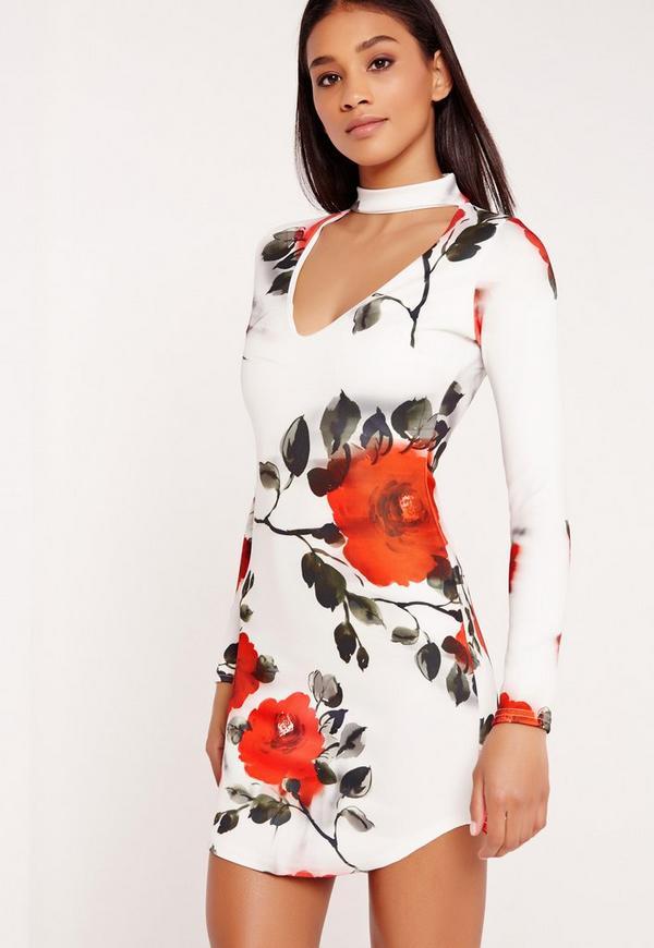 Floral Print Choker Curve Hem Bodycon Dress White