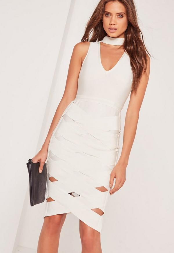 Premium Bandage Choker Cage Skirt Midi Dress White