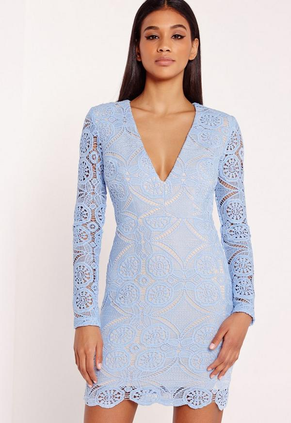 Lace Long Sleeve Bodycon Dress Blue
