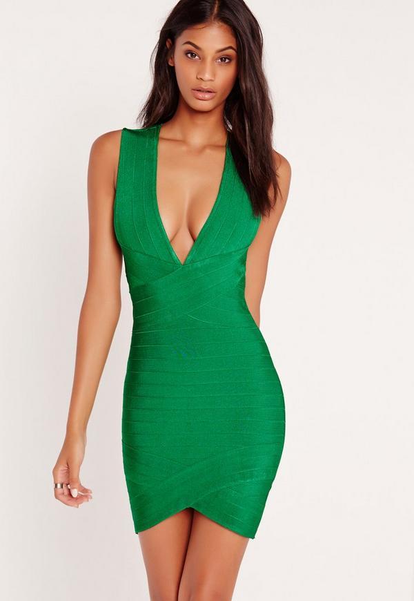 Premium Bandage Plunge Bodycon Dress Green