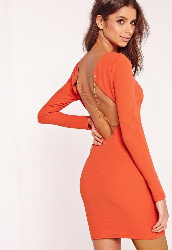 Long Sleeve Chain Cross Back Mini Dress Orange