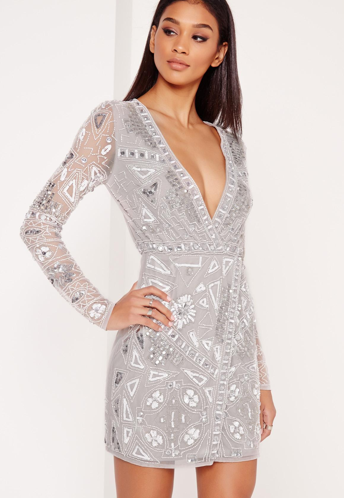Premium Long Sleeve Sequin Embellished Wrap Mini Dress Grey ...
