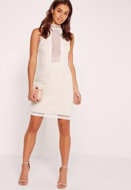 Premium Structured Lace High Neck Bodycon Dress White