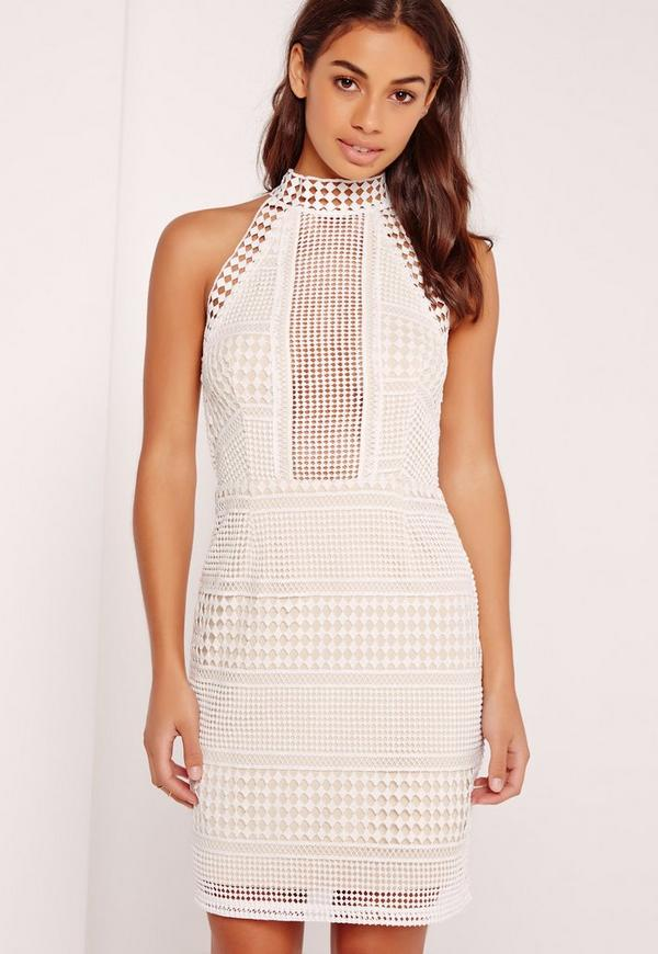 207f5b57062b Premium Structured Lace High Neck Bodycon Dress White. Był 249