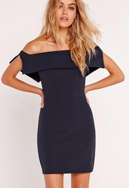 Bandeau Overlay Bodycon Dress Navy