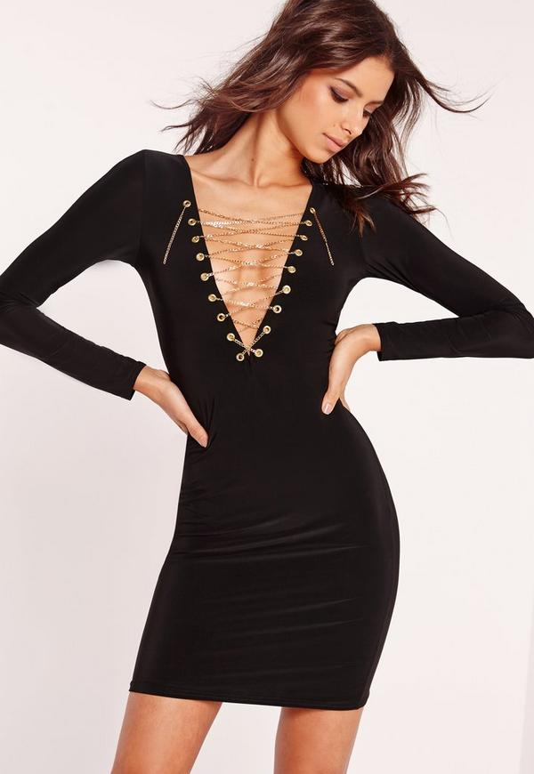 Slinky Chain Lace Up Bodycon Dress Black