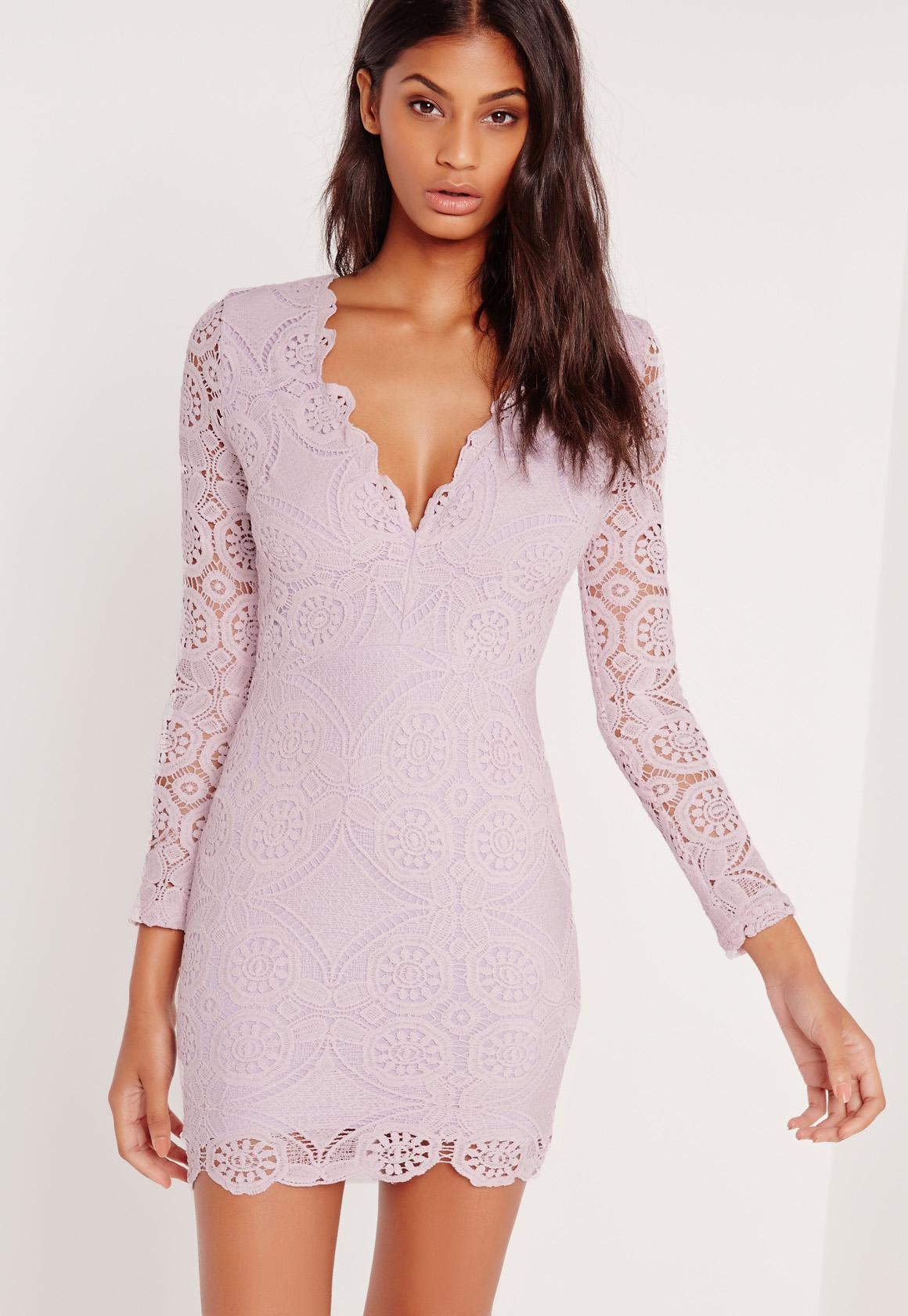 Crochet Long Sleeve Bodycon Dress Lilac | Missguided