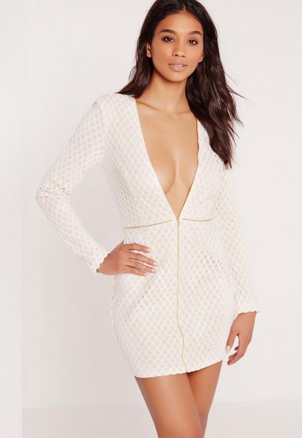 Premium Lattice Lace Zip Up Bodycon Dress Nude