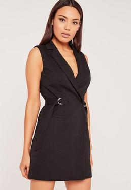 Sleeveless D-Ring Blazer Dress Black