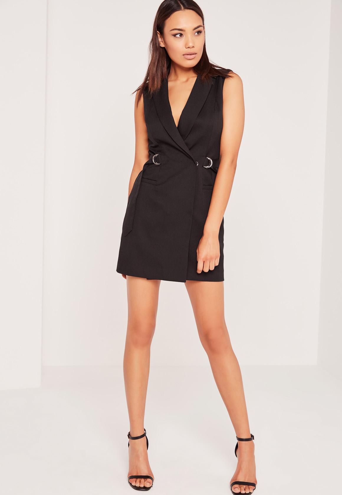 Sleeveless D-Ring Blazer Dress Black