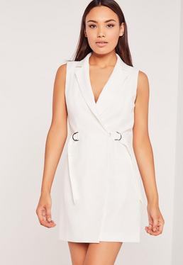 Sleeveless D-Ring Blazer Dress White