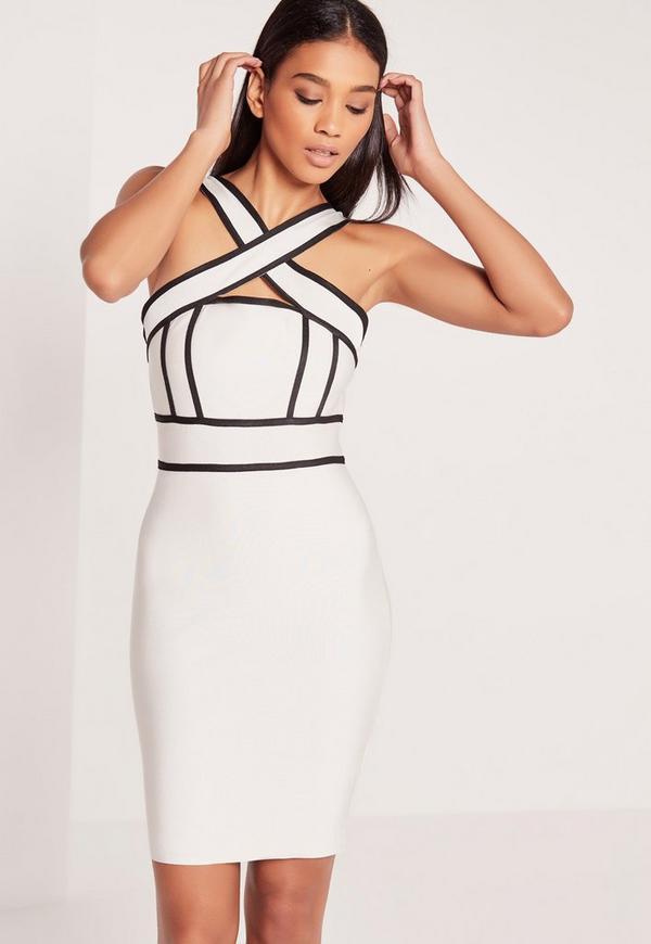 Premium Bandage Cross Strap Midi Dress White