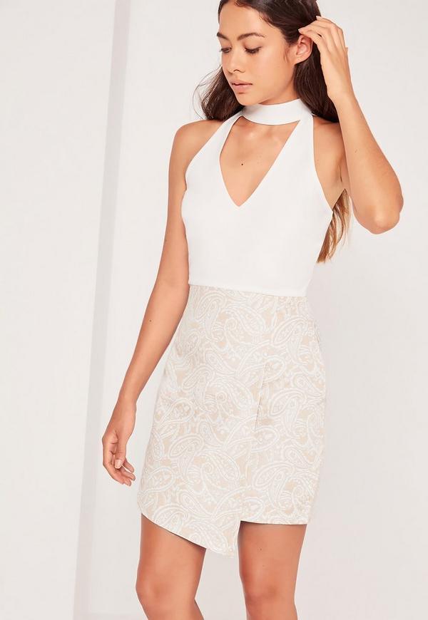 Choker Neck Wrap Skirt Shift Dress White