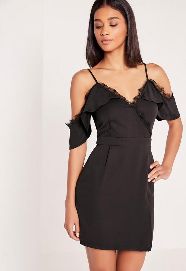 Lace Trim Cold Shoulder Shift Dress Black