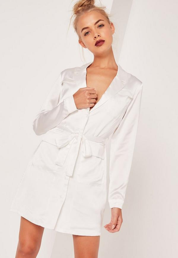 Satin Belted Pocket Detail Shirt Dress White
