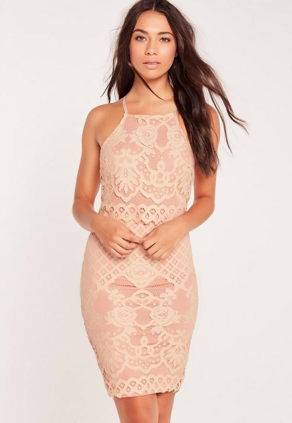 Lace Strappy Double Layer Midi Dress Pink