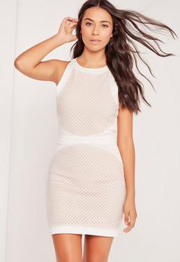 Fishnet Overlay Shift Dress White