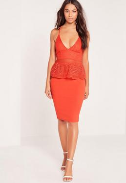 Strappy Peplum Midi Dress Red