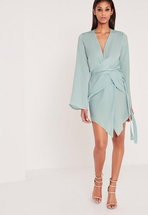 Long Sleeve Kimono Wrap Dress Duck Egg Blue