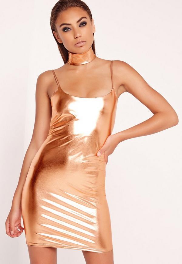 Strappy Bodycon Dress Copper