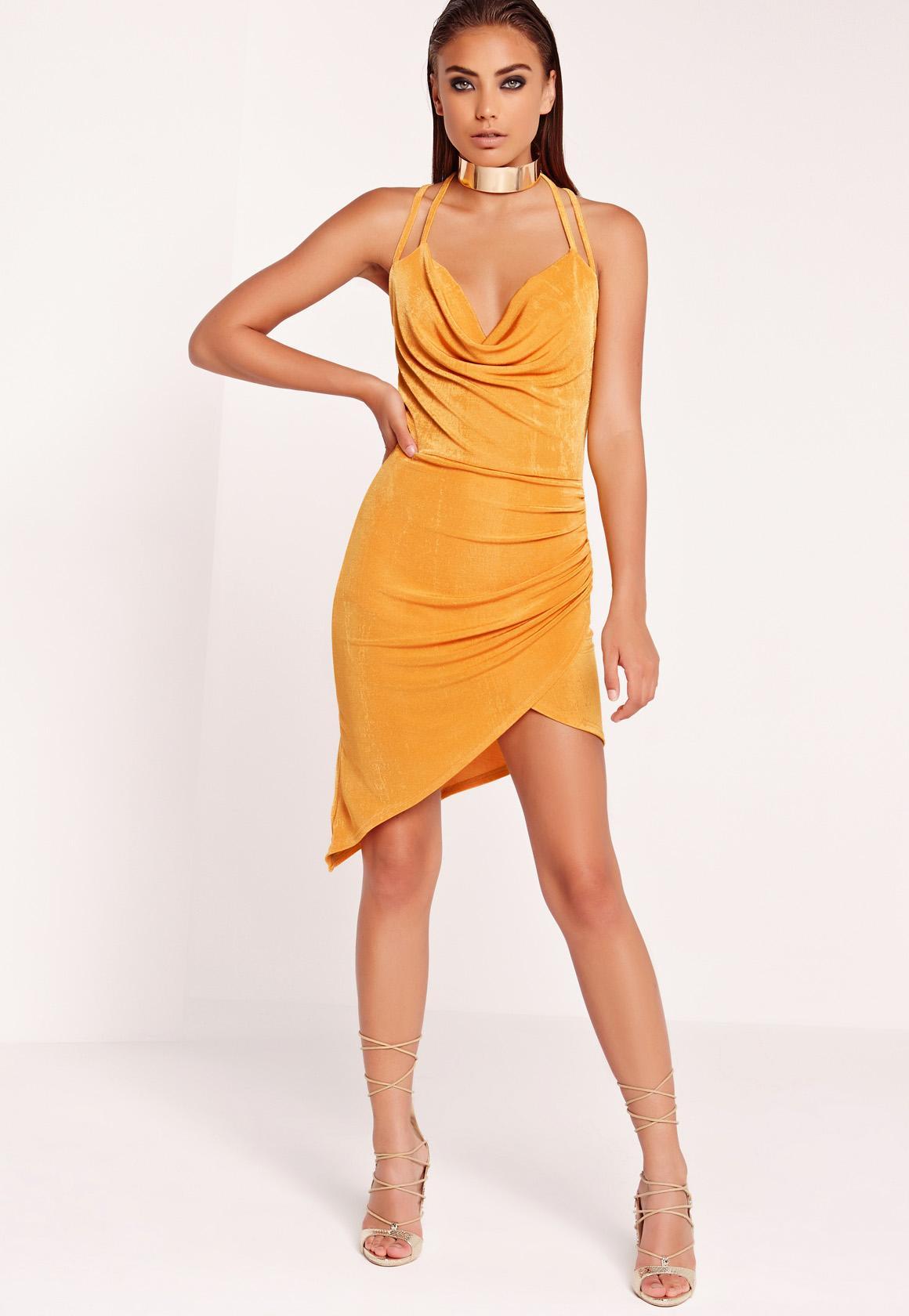 Slinky Midi Dress Gold