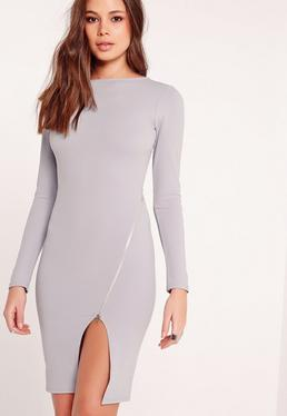 Long Sleeve Zip Detail Midi Dress Grey