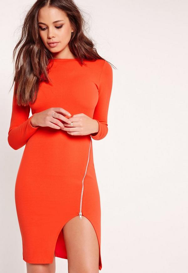 Long Sleeve Zip Detail Midi Dress Orange