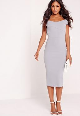 Crepe Bardot Midi Dress Grey