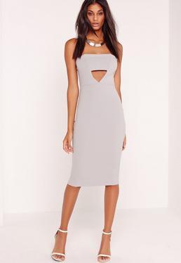 Crepe Cut Out Bandeau Midi Dress Grey
