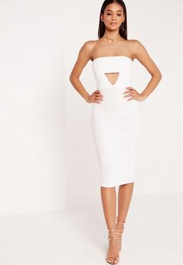 Crepe Cut Out Bandeau Midi Dress White